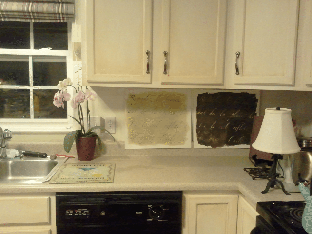 Testing out color combinations for the backsplash.  The winner is? The dark backsplash...thanks my Pinterest followers!