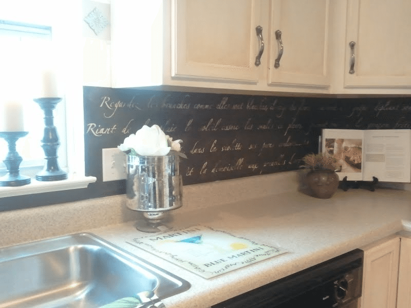 New Stenciled Backsplash with $100 stencil from Royal Design Studio + leftover paint.