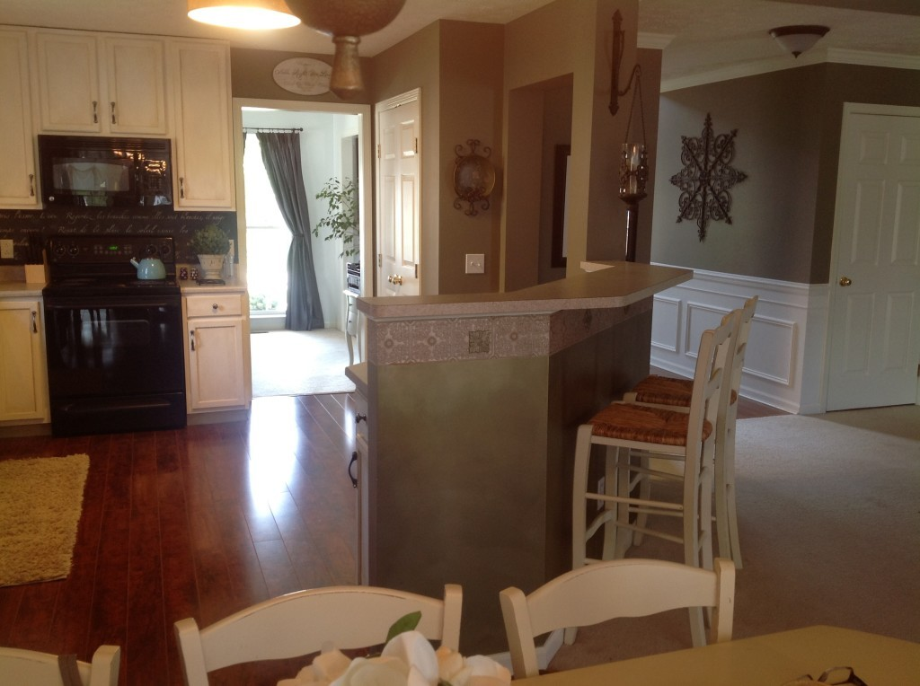 Before: Another view of the kitchen island.  See how shallow the countertop is?  Had to turn sideways to sit there.