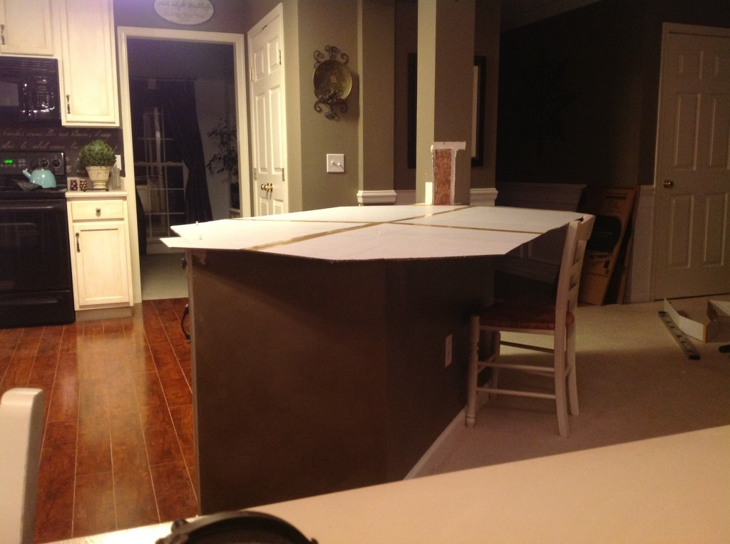 Demolished Island,  testing out our cardboard template before applying butcher block