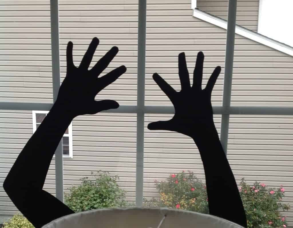 diy halloween window silhouettes hands