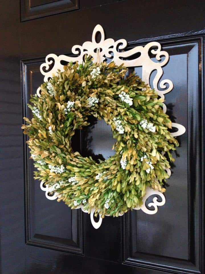 front door boxwood wreath with frame