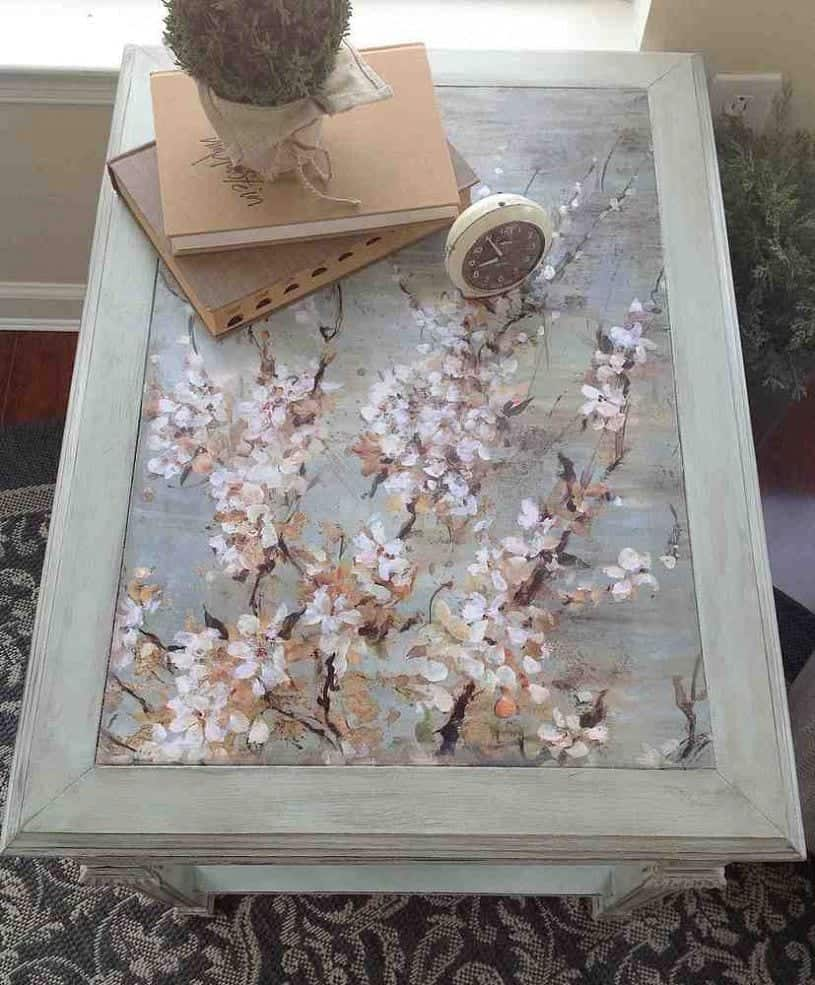 End Table Paint Ideas Upcycled Table With Decoupage Snazzy Little Things