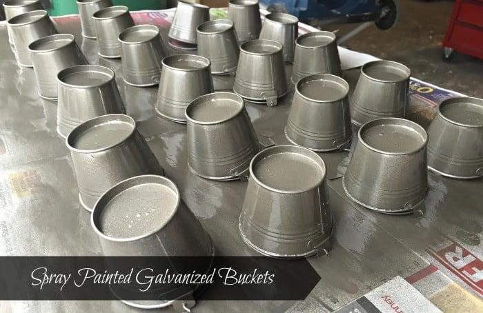 Pottery Barn Knock Off Gilt Galvanized Advent buckets